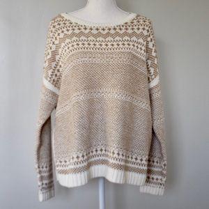 Old Navy Cream/Tan Oversized Knit Sweater